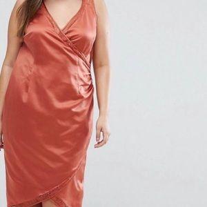 ASOS curve lace insert wrap satin dress